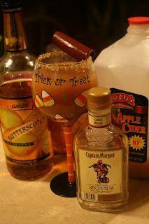 Adult Apple Cider - yum!  Apple Cider  Captain Morgan spiced run  Van Gogh caramel vodka
