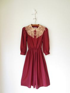 Lace Collar Dress // Vintage 80s Cranberry by sparvintheieletree