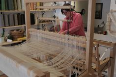 Rio Grande walking loom. Mary Evans Kasala of Kasala Gallery in Crested Butte, CO at the loom.