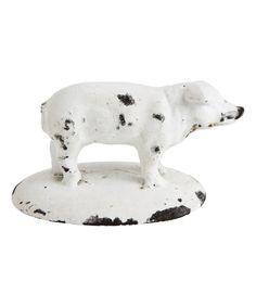 Look what I found on #zulily! Distressed White Cast Iron Pig #zulilyfinds