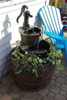 DIY Under a Hour Brand New Outdoor Fountain ! (From Repurposed Finds )
