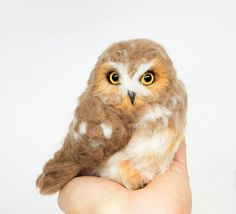 Miniature Saw Whet Owl needle felted sculpture by BirdsByBotzan
