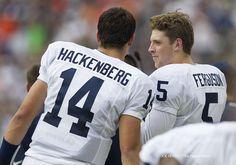PENN STATE – FOOTBALL 2013 – Penn State quarterback Christian Hackenberg talks with quarterback Tyler Ferguson during the second quarter at MetLife Stadium.