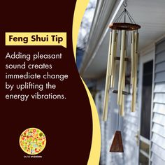 Wind chime creates an environment of serenity and calmness across the home and generates positive vibes. Feng Shui Tips For Home, Feng Shui And Money, Zen Office, Room Feng Shui, Portland House, Vastu Shastra, Inviting Home, Good Energy, Love Home