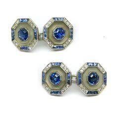 Pair of Art Deco sapphire, diamond and rock crystal cufflinks, c.1925,