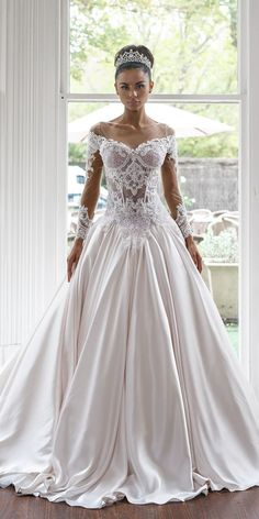 42 Off The Shoulder Wedding Dresses To See ❤  off the shoulder wedding dresses with long sleeves lace with train ball gown nektaria #weddingforward #wedding #bride Types Of Dresses, Formal Dresses, Wedding Dresses, Off The Shoulder, Ball Gowns, Feminine, Elegant, Lace, Long Sleeve
