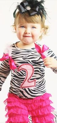 Girls Boutique clothing 2nd Birthday girl outfit size 2T zebra print bow ruffles