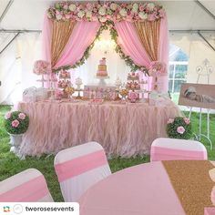 "136 Likes, 6 Comments - Cristy - Pretty My Party (@prettymyparty) on Instagram: ""Wow, check out this gorgeous pink and gold party from @tworosesevents #pink #gold #desserttable…"""