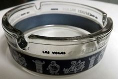 Caesars Palace Las Vegas Strip Casino Hotel VTG Round Clear Blue Glass Ashtray