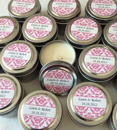 Wedding Candle Favor- Damask- All Natural Soy Wax- Great for Bridal Showers Too. $2,50, via Etsy.