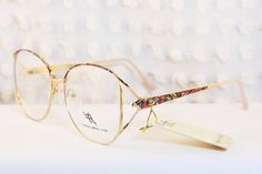 Graffiti Gold Wire Rim 1980's Oversize Eyeglasses Dead Stock Large Size 56/16 by Otego Optical.
