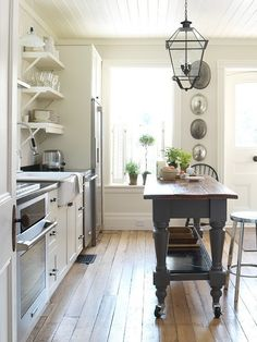 Cottage Farmhouse Kitchens {inspiring in white} Love the ceiling!