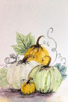 Pumpkin Drawing, Pumpkin Art, Autumn Painting, Autumn Art, Watercolor Cards, Watercolor Flowers, Watercolour, Watercolor Paintings For Beginners, Guache