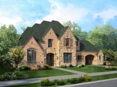 Stone, brick, rustic wood shutters and a porte cochere leading to the motor court create an Old World look. By Highland Homes. The Rocky Creek new home community. Highland Homes, Home Safes, New Home Builders, Modern Dollhouse, House Elevation, Modern Country, French Country, New House Plans, Stone Houses