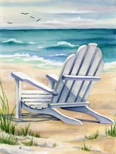 White Beach Chair 18x24 Limited Edition Paper Giclee