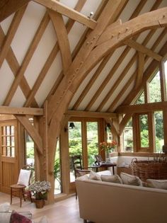 This oak frame barn room extension transformed this house by Roderick James Architects