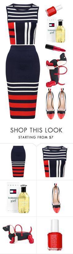 """Forever New"" by thestyleartisan ❤ liked on Polyvore featuring Tommy Hilfiger, Thom Browne, Essie, MAC Cosmetics, stripesonstripes and PatternChallenge"