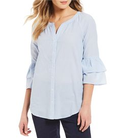 Intro Double Ruffle Bell Sleeve Button Front Solid Stripe Novelty Shirting Poplin Top #Dillards