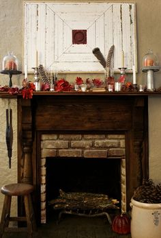 Classic Fireplace Thanksgiving Decorating Ideas Wooden Fireplace Mantel