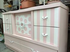 How Sweet She Is!! Mid-Century Modern dresser with a twist! Painted Snowflake and Spun Sugar (Miss Lillian's Chock Paint) then whitewashed. By Posh Paints.