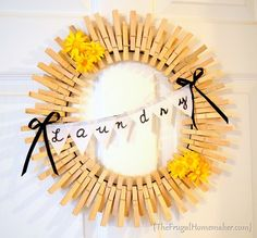 Clothespin Laundry Room wreath