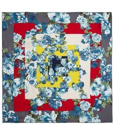BLUE FLORAL PRINT SHADED SQUARES SILK SCARF, KENZO