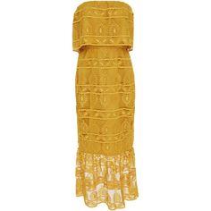 Mestiza New York Clara Midi Dress ($545) ❤ liked on Polyvore featuring dresses, yellow, yellow midi dress, trumpet dress, yellow dress, brown midi dress and lace overlay midi dress
