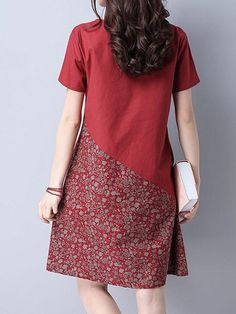 Buy Floral Patchwork Pocket Short Sleeve O Neck Women Dresses online with cheap prices and discover fashion Dresses,Vintage Dresses at Shechoic.com.
