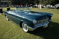 1956 Continental Mark II Convertible  The Continental engines were blueprinted and run on a dyno before being installed in the cars. It's a 369 cubic-inch engine with 4-barrel carb, rated at 285 horsepower. The car weighs about 5,300 pounds.