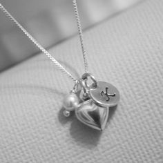 Personalized Heart Necklace, Sterling Silver and Pearl Necklace, Sterling Silver Heart Necklace, Initial Necklace, Bridesmaid Necklace