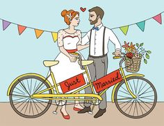 Just Married - Tandem Bike - The Found - illustrated by Laura Szumowski