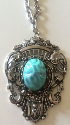 Vintage Medallion Necklace Crown Flourish Faux Turquoise Pendant Silvertone #Pendant