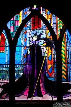 Maleficent Stained Glass Window inside the Castle at Paris Disneyland, France