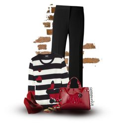 """767"" by serepunky ❤ liked on Polyvore featuring Gérard Darel, Markus Lupfer, Red Herring, Armani Jeans, Marc Jacobs, Betsey Johnson, stripes, Wedges, RedShoes and longsleeve"
