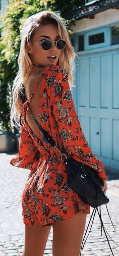 #summer #outfits / floral print playsuit