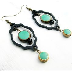 Lifestyle & Accessory :: Black and Turquoise ear rings - Tadpole Store - India's Only Exclusive Online Shopping Destination for Authentic Designer Products