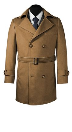 Light brown double-breasted coat with hook-and double row of buttons.  Beautiful classical coat style, that matches perfectly with a black suit and gloves. It is also very stylish when worn with a gray scarf between the lapels. Perfect to wear on any occasion with good taste and distinction.