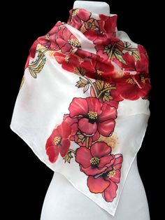 Hand painted silk scarf,Red flowers,silk painting,Hand painted red flowers,Painted scarf,silk scarf,gift for wife,original made to order Hand painted silk scarf Silk painted scarf using steam fixed dyes. Made to order. Delivery: 1-2 weeks Size: 140 x45 cm (55,12 x 18 in) Materials: 100