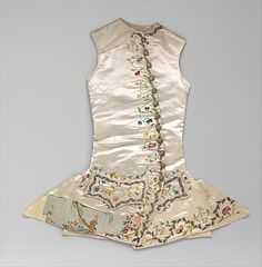 "The Met, waistcoat, c. 1760 - not clear if this is men's or women's. Interesting ""life"" this one's had - pieces missing and chunk replaced with totally different fabric. Might not be for riding at all - this is my speculation only"