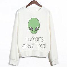 Aza Boutique Fashion Alien Print Pullover Sweatshirt(10+ ...