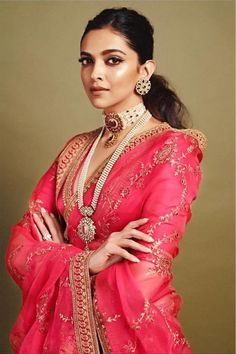 Deepika Padukone in Sabyasachi Pink Organza Saree. To customizations please contact us through WhatsApp Sari Design, Mode Bollywood, Bollywood Fashion, Indian Dresses, Indian Outfits, Look Fashion, Indian Fashion, Fashion Hub, Fashion Design