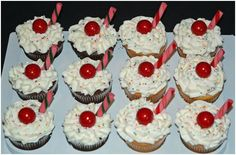 """Ice Cream Float Cupcakes chocolate and lemon cloud cupcakes, buttercream """"whipped topping"""", cinnamon gum ball for the cherry, old. Sundae Cupcakes, Ice Cream Cupcakes, Chocolate Cupcakes, Cinnamon Gum, Bridal Shower Planning, Ice Cream Floats, Good Food, Yummy Food, Whipped Topping"""