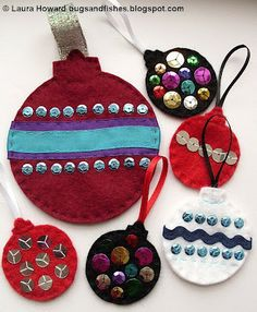 DIY felt ornaments for felt christmas tree Felt Christmas Ornaments, Kids Christmas, Christmas Nativity, Christmas Activities, Christmas Projects, Christmas Printables, Felt Crafts, Holiday Crafts, Diy Crafts