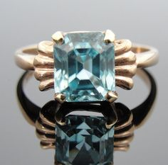 Vintage Blue Zircon Ring, Sweet Heart Retro Setting RGZC501D, $385.00