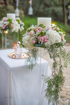 Romantic flower and candle wedding decoration with white and pink roses || Διακόσμηση γάμου με λουλούδια Wedding Decorations, Table Decorations, Furniture, Home Decor, Decoration Home, Room Decor, Wedding Decor, Home Furnishings, Home Interior Design