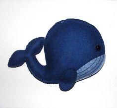 Wool Felt Whale Ornament Big Whale Ornament Felt Whale Navy