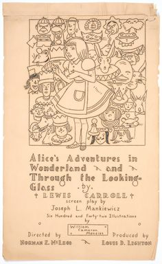 Title page of illustrated screenplay for the 1933 film Alice in Wonderland. Drawings by William Cameron Menzies