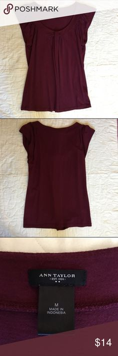 Ann Taylor Burgundy Top Adorable Ann Taylor Burgundy / dark red top with Ruffle shirt sleeves in great condition Ann Taylor Tops Blouses