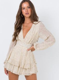 String Of Love Playsuit Beige – Princess Polly Cute Dresses, Casual Dresses, Short Dresses, Dresses With Sleeves, Maxi Dresses, Awesome Dresses, Floral Dress Outfits, Cute Casual Outfits, Modest Outfits