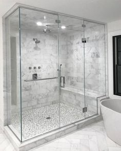 Beautiful master bathroom decor tips. Modern Farmhouse, Rustic Modern, Classic, light and airy master bathroom design some ideas. Bathroom makeover a few ideas and master bathroom remodel ideas. Master Bathroom Shower, Steam Showers Bathroom, Bathroom Layout, Modern Bathroom Design, Bathroom Interior Design, Master Bathrooms, Bathroom Cabinets, Bathroom Mirrors, Glass Showers